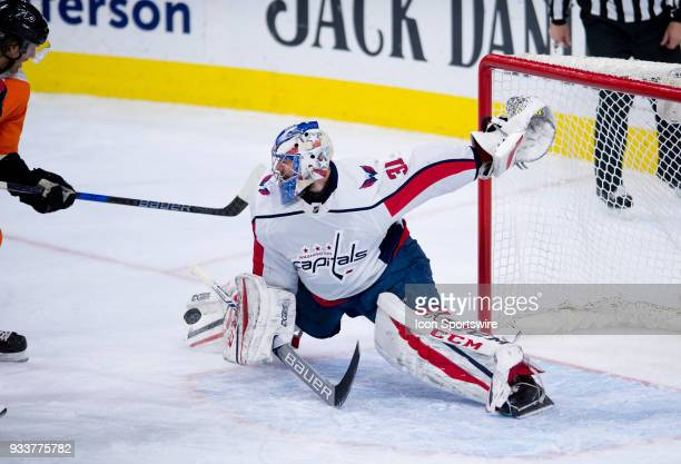 Washington Capitals Goalie Philipp Grubauer makes a diving save in the second period during the game between the Washington Capitals and Philadelphia...