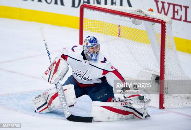 Washington Capitals Goalie Philipp Grubauer makes a glove save in the second period during the game between the Washington Capitals and Philadelphia...