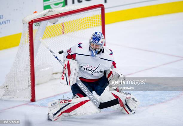 Washington Capitals Goalie Philipp Grubauer makes a save in the third period during the game between the Washington Capitals and Philadelphia Flyers...