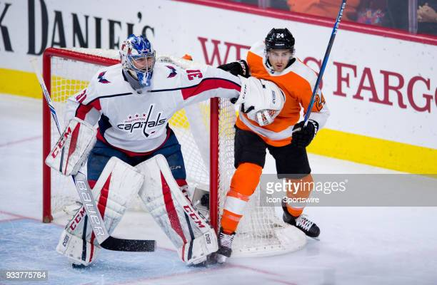 Washington Capitals Goalie Philipp Grubauer pushes Philadelphia Flyers Right Wing Matt Read away from the net in the second period during the game...