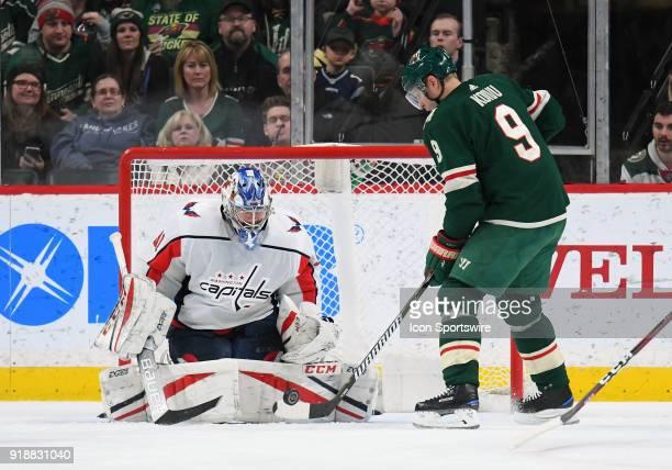 Washington Capitals Goalie Philipp Grubauer stops Minnesota Wild Center Mikko Koivu during a NHL game between the Minnesota Wild and Washington...