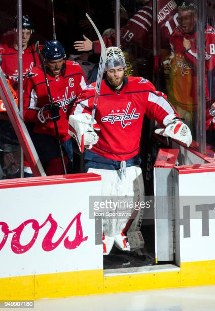 Washington Capitals goaltender Braden Holtby enters the ice at the start of the second period during the first round Stanley Cup playoff game 5...