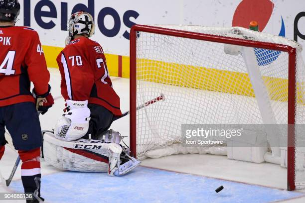 Washington Capitals goaltender Braden Holtby in action against the Carolina Hurricanes on January 11 at the Capital One Arena in Washington DC The...