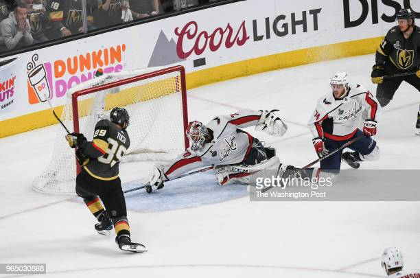 LAS Washington Capitals goaltender Braden Holtby makes a great save against Vegas Golden Knights right wing Alex Tuch late in the third period of...