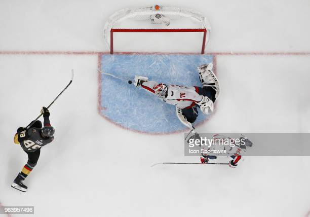 Washington Capitals goaltender Braden Holtby makes a save against Vegas Golden Knights right wing Alex Tuch during the third period of Game Two of...