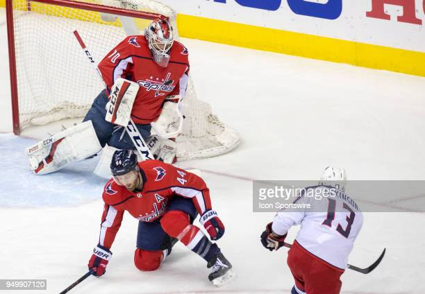 Washington Capitals goaltender Braden Holtby makes a save on a shot by Columbus Blue Jackets right wing Cam Atkinson during the first round Stanley...