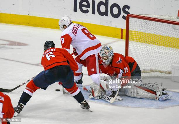 Washington Capitals goaltender Braden Holtby makes a save on a third period shot by Detroit Red Wings left wing Justin Abdelkader on December 11 at...