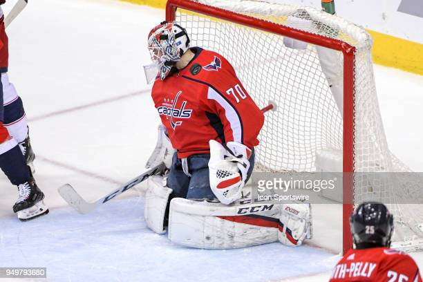 Washington Capitals goaltender Braden Holtby makes a second period save on shot by the Columbus Blue Jackets on April 21 at the Capital One Arena in...