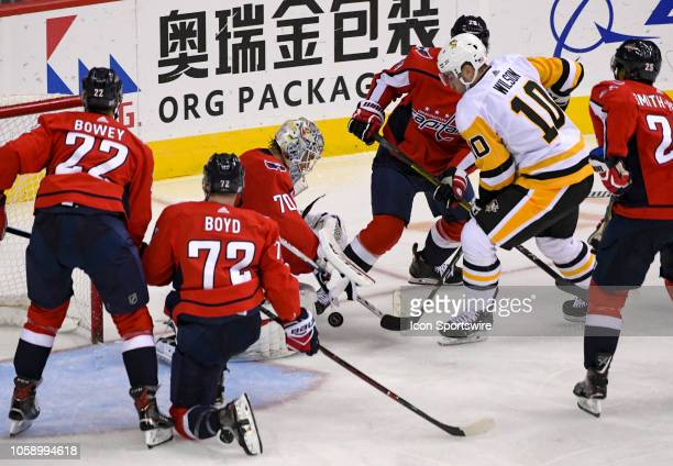 Washington Capitals goaltender Braden Holtby makes a third period save on shot by Pittsburgh Penguins left wing Garrett Wilson on November 7 at the...