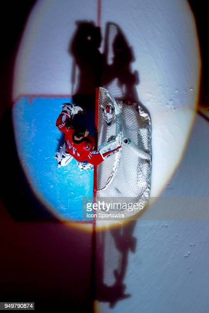 Washington Capitals goaltender Braden Holtby stands in goal at the start of the game against the Columbus Blue Jackets on April 21 at the Capital One...