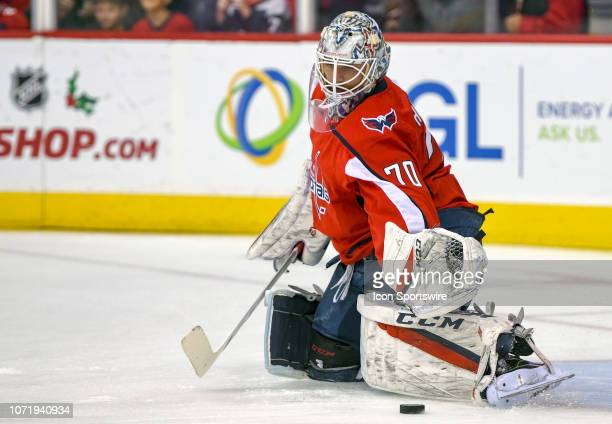 Washington Capitals goaltender Braden Holtby warms up prior to the game against the Detroit Red Wings on December 11 at the Capital One Arena in...