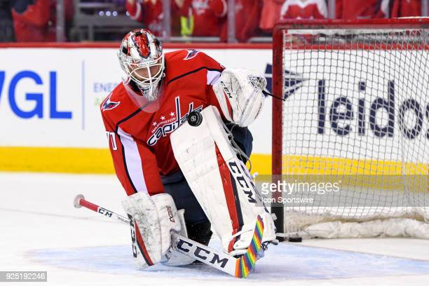 Washington Capitals goaltender Braden Holtby warms up with rainbow tape on his stick on February 27 at the Capital One Arena in Washington DC The...