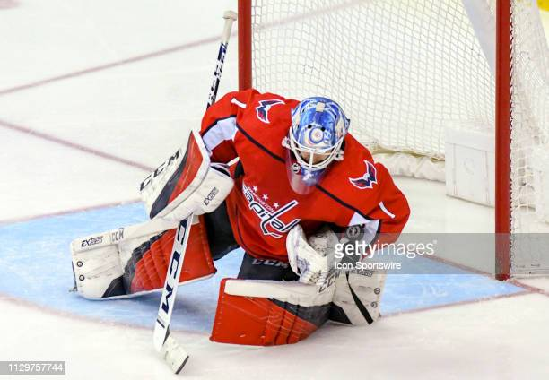 Washington Capitals goaltender Pheonix Copley makes a third period save on shot by the Washington Capitals on March 10 at the Capital One Arena in...