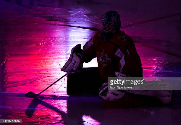 Washington Capitals goaltender Pheonix Copley takes the ice for the start of the third period against the Winnipeg Jets on March 10 at the Capital...