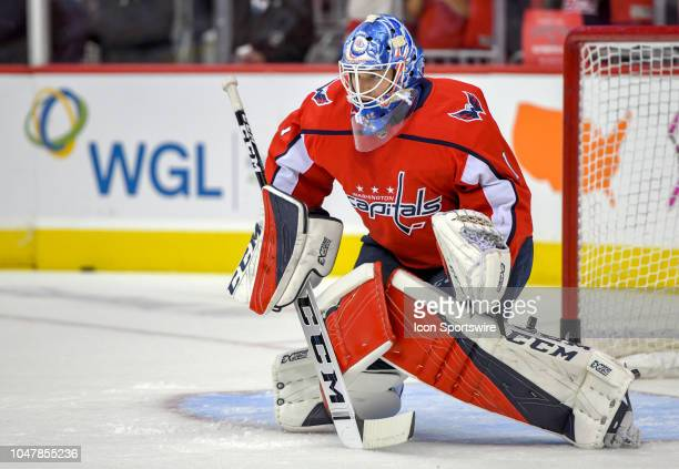 75ff0b611ac Washington Capitals goaltender Pheonix Copley warms up on October 3 at the  Capital One Arena in