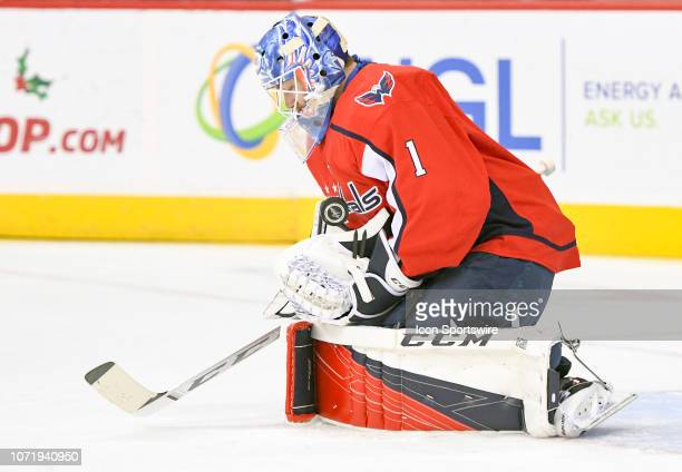 Washington Capitals goaltender Pheonix Copley warms up prior to the game against the Detroit Red Wings on December 11 at the Capital One Arena in...