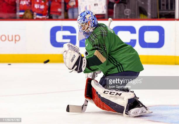Washington Capitals goaltender Pheonix Copley warms up prior to the game against the Winnipeg Jets on March 10 at the Capital One Arena in Washington...