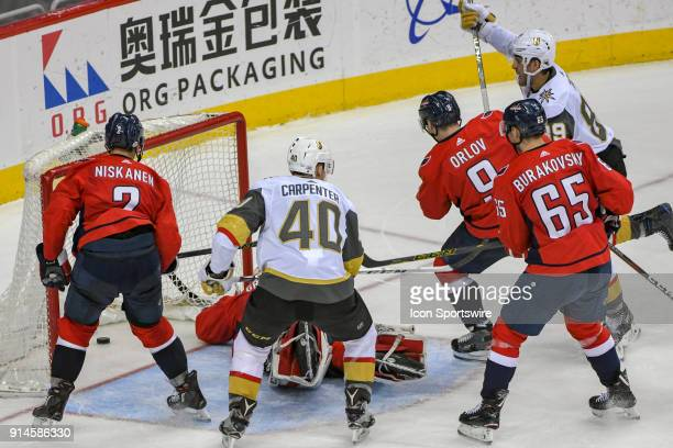 Washington Capitals goaltender Philipp Grubauer cannot corral a third period winning goal on a shot by Vegas Golden Knights right wing Alex Tuch on...