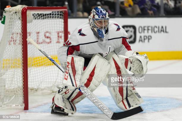 Washington Capitals goaltender Philipp Grubauer during the NHL regular season game during the Los Angeles Kings game versus the Washington Capitals...