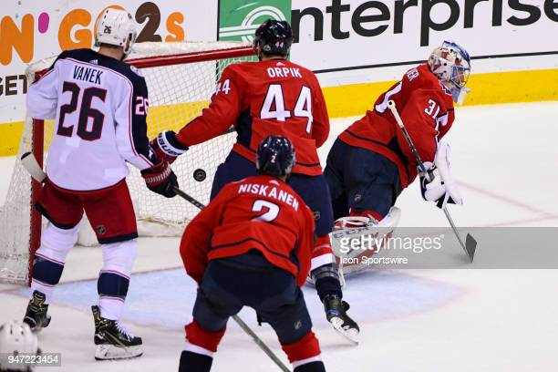Washington Capitals goaltender Philipp Grubauer gives up a second period goal to the Columbus Blue Jackets on April 15 at the Capital One Arena in...