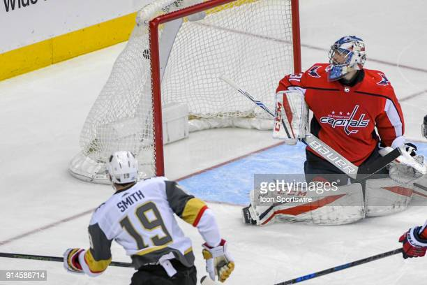 Washington Capitals goaltender Philipp Grubauer gives up a third period goal to Vegas Golden Knights right wing Reilly Smith on February 4 at the...