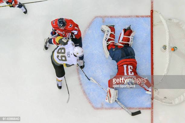 Washington Capitals goaltender Philipp Grubauer gives up the game winning goal to Vegas Golden Knights right wing Alex Tuch on February 4 at the...