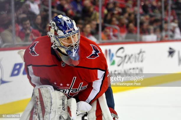 Washington Capitals goaltender Philipp Grubauer in the second period at Capital One Arena April 05 2018 in Washington DC