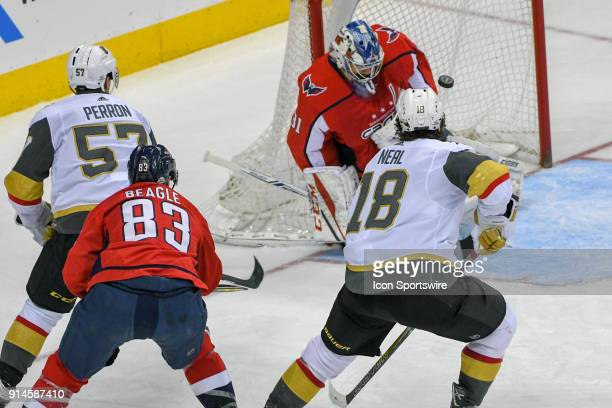 Washington Capitals goaltender Philipp Grubauer makes a save in the third period on shot by Vegas Golden Knights left wing James Neal on February 4...