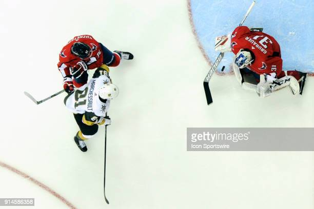 Washington Capitals goaltender Philipp Grubauer makes a save on a first period shot by Vegas Golden Knights center Jonathan Marchessault on February...