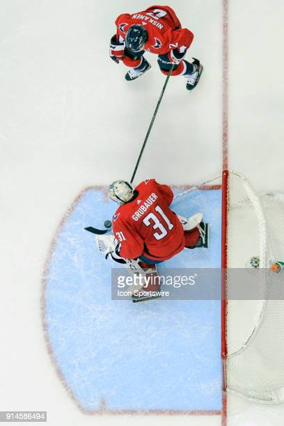 Washington Capitals goaltender Philipp Grubauer makes a third period save on shot by the Vegas Golden Knights on February 4 at the Capital One Arena...