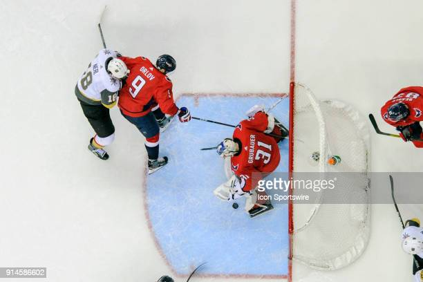 Washington Capitals goaltender Philipp Grubauer makes a third period save on a shot by Vegas Golden Knights left wing James Neal in action on...