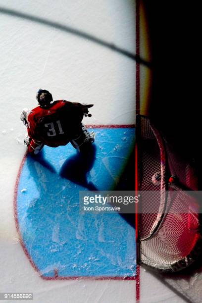Washington Capitals goaltender Philipp Grubauer stands in goal on February 4 at the Capital One Arena in Washington DC The Vegas Golden Knights...