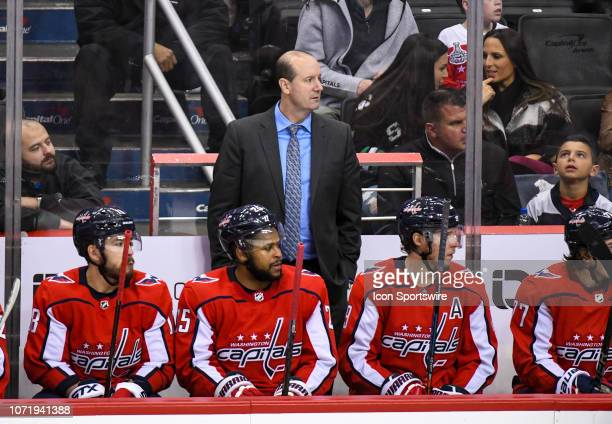 Washington Capitals head coach Todd Reirden stands behind the bench during the game against the Detroit Red Wings on December 11 at the Capital One...