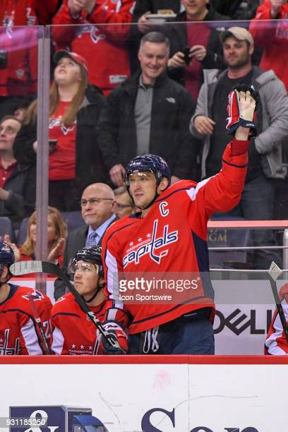 Washington Capitals left wing Alex Ovechkin acknowledges the crowd after scoring his 600th NHL goal in the second period against the Winnipeg Jets on...
