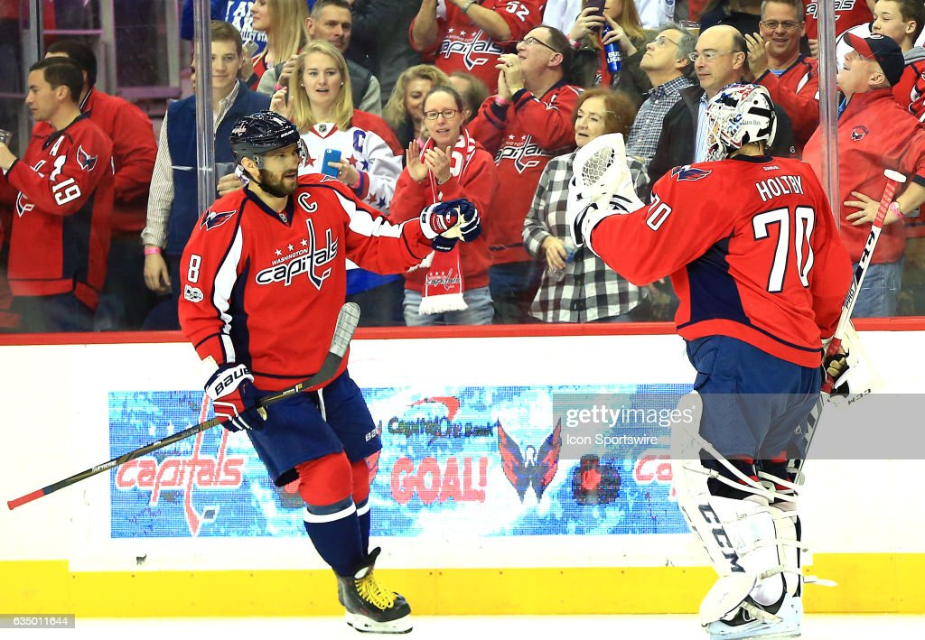 Washington Capitals left wing Alex Ovechkin (8) and goalie Braden Holtby (70) after a Caps goal during a NHL game on February 11, 2017 at Verizon Center in Washington, DC. Capitals defeated the Anaheim Ducks 6-4.