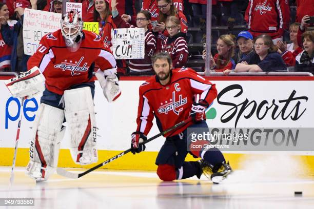Washington Capitals left wing Alex Ovechkin and goaltender Braden Holtby take the ice for the game against the Columbus Blue Jackets on April 21 at...