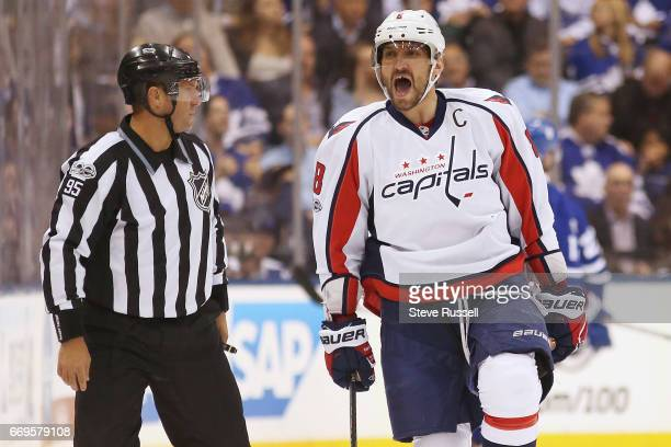 TORONTO ON APRIL 17 Washington Capitals left wing Alex Ovechkin celebrates a goal as the Toronto Maple Leafs play the Washington Capitals in game...