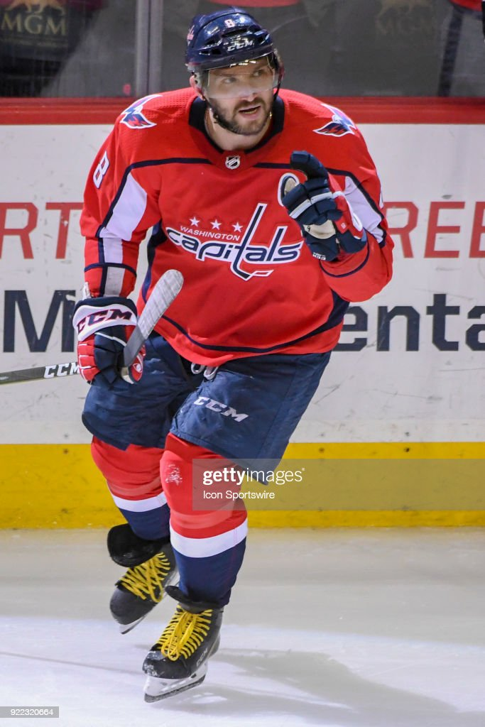 Washington Capitals left wing Alex Ovechkin (8) celebrates after scoring in the third period against the Tampa Bay Lightning on February 20, 2018, at the Capital One Arena in Washington, D.C. The Tampa Bay Lightning defeated the Washington Capitals, 4-2.