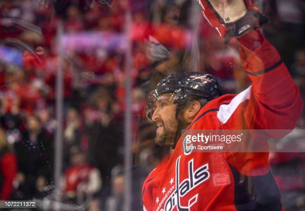 Washington Capitals left wing Alex Ovechkin celebrates his second goal of the game against the Detroit Red Wings on December 11 at the Capital One...