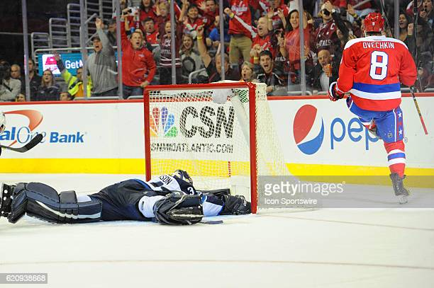 Washington Capitals left wing Alex Ovechkin celebrates his second period goal against Winnipeg Jets goalie Michael Hutchinson on November 3 at the...