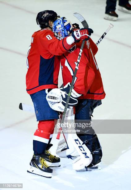Washington Capitals left wing Alex Ovechkin congratulates goaltender Pheonix Copley following the win against the Winnipeg Jets on March 10 at the...