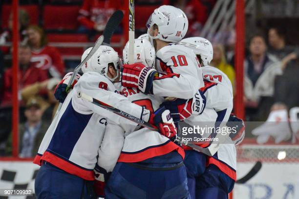Washington Capitals Left Wing Alex Ovechkin Defenceman Matt Niskanen Right Wing Brett Connolly and Right Wing TJ Oshie celebrate after a game tying...