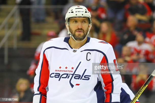 Washington Capitals left wing Alex Ovechkin during the first period of the National Hockey League Game between the New Jersey Devils and the...