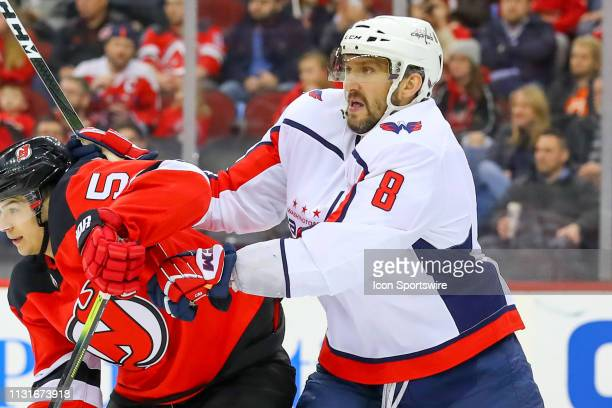 Washington Capitals left wing Alex Ovechkin during the second period of the National Hockey League Game between the New Jersey Devils and the...