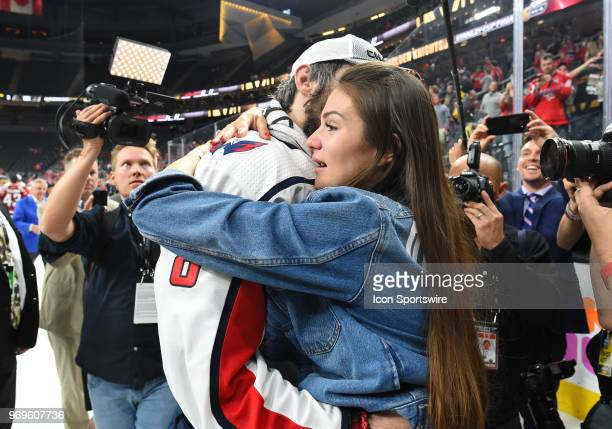 Washington Capitals Left Wing Alex Ovechkin embraces his wife Anastasia Shubskaya after defeating the Las Vegas Golden Knights 43 to win the Stanley...