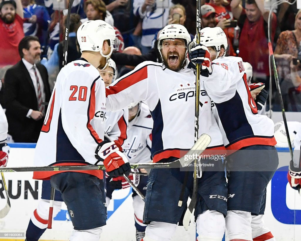 Washington Capitals left wing Alex Ovechkin (8) embraces Washington  Capitals left wing Andre Burakovsky dc1fe97a7f61