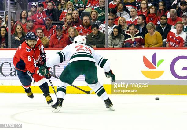 Washington Capitals left wing Alex Ovechkin fires a second period shot on goal against Minnesota Wild defenseman Greg Pateryn on March 22 at the...