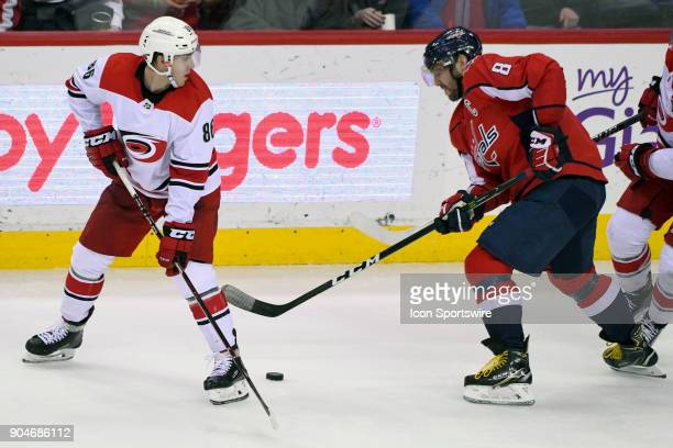 Washington Capitals left wing Alex Ovechkin in action against Carolina Hurricanes left wing Teuvo Teravainen on January 11 at the Capital One Arena...