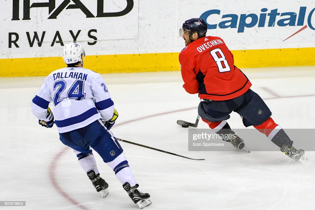 Washington Capitals left wing Alex Ovechkin (8) in action against Tampa Bay Lightning right wing Ryan Callahan (24) on February 20, 2018, at the Capital One Arena in Washington, D.C. The Tampa Bay Lightning defeated the Washington Capitals, 4-2.