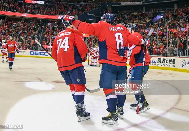 Washington Capitals left wing Alex Ovechkin is congratulated after his second period goal against the Detroit Red Wings on December 11 at the Capital...
